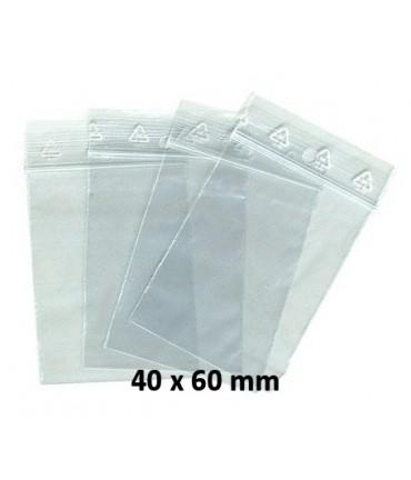 Sachets pochettes plastique zip 40 x 60 mm