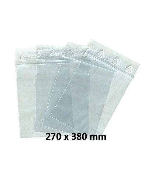 Sachets pochettes plastique zip 270 x 380 mm
