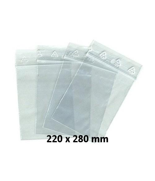 Sachets pochettes plastique zip  220 x 280 mm