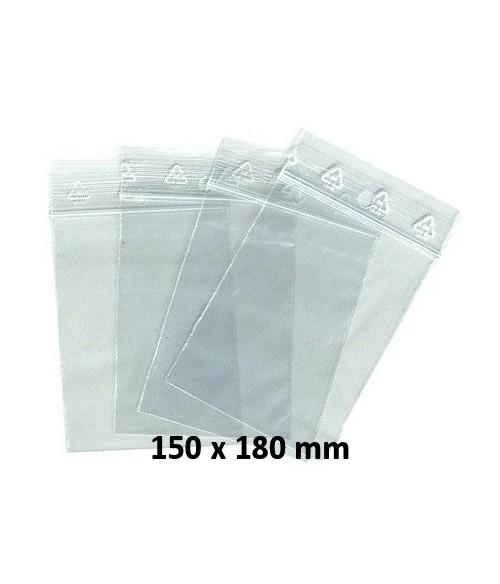 Sachets pochettes plastique zip 150 x 180 mm