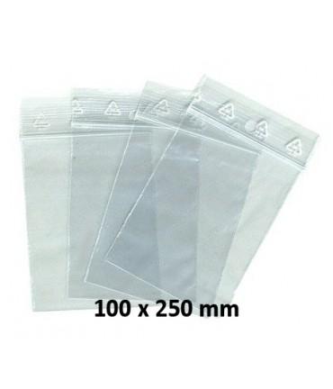 Sachets pochettes plastique zip 100 x 250 mm