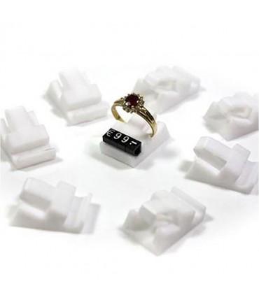 Supports bagues blancs pour cubes étiquette prix (10 pièces) - Blanc