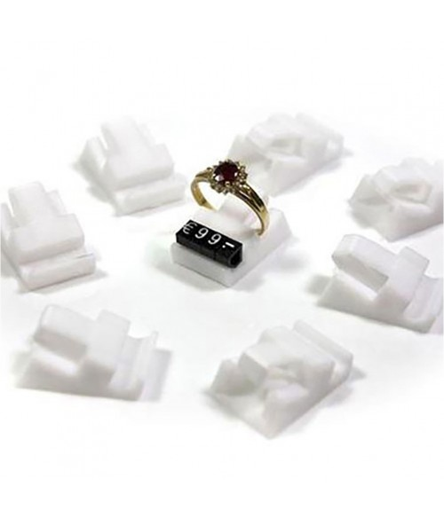 Supports bagues blancs pour cubes étiquette prix (10 pièces)