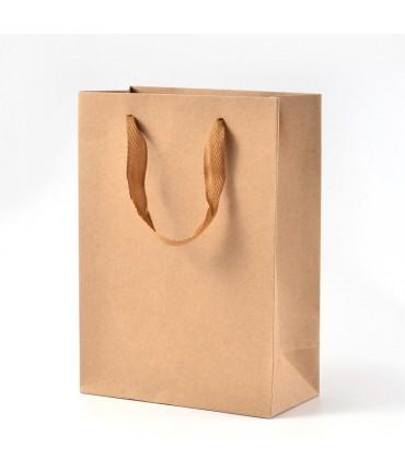 Sacs papier kraft 16x12x5,7cm poignée tissu lot de 10