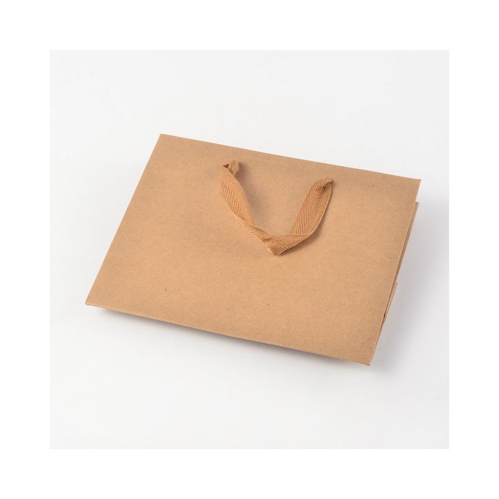 sacs papier kraft poign e tissu 22x18 cm lot de 10. Black Bedroom Furniture Sets. Home Design Ideas