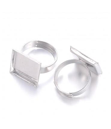 Supports de bagues plateau carré 15x15 mm gris (5 pièces)