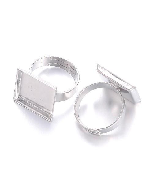 Supports de bagues plateau carré 15x15 mm gris (10 pièces)