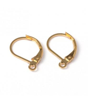 Support boucles d'oreilles dormeuses 15 x 10 mm (10 pièces) - Doré