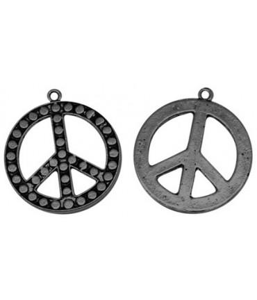 Breloque pendentif symbole paix noir