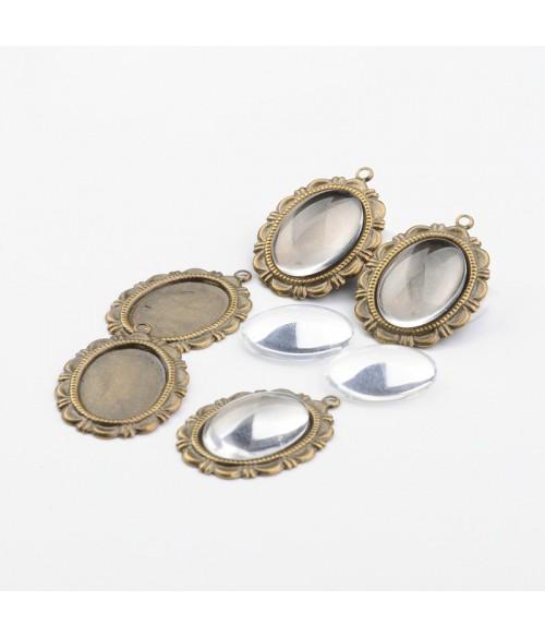Kit cabochon verre et support médaillon 28 x 20 mm (10 pièces)