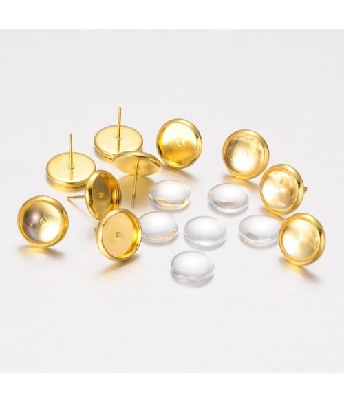 Kit clous d'oreilles cabochon doré 12x12 mm ( 10 pièces )
