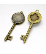 Kit cabochon verre et support grande clé  62 x 22 mm (5 pièces)