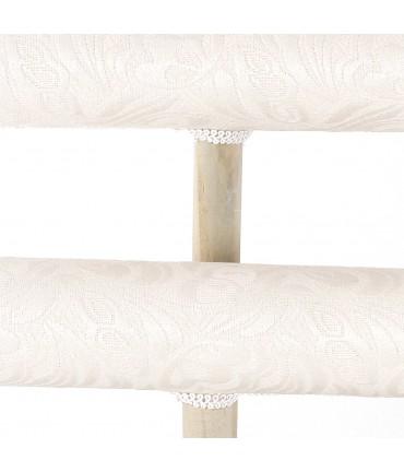 Jonc porte bracelet 2 rangs bois et tissu arabesque beige