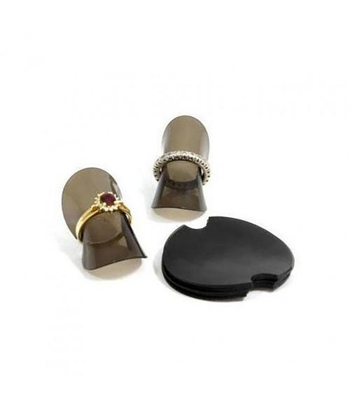Présentoirs rondelles souples pour bagues noirs (30 pièces)