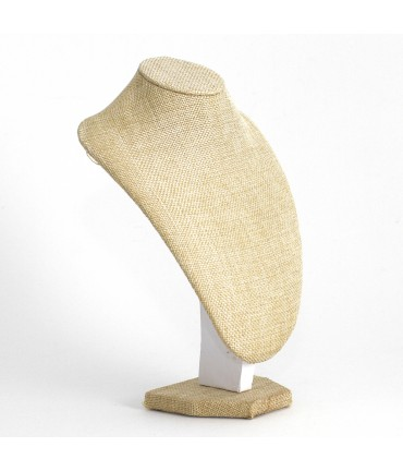 Buste porte collier toile de jute 18 cm