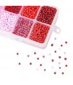Kit perles de rocaille 3 mm rouge rose (4200 pièces)