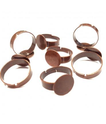 Supports de bagues réglables pour la création de bijoux fimo Tamis 12 mm (10 pièces) - Cuivre