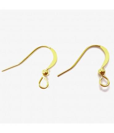 Crochets boucle d'oreille 15 mm avec boule (20 pièces) - Doré
