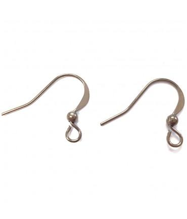 Crochets boucle d'oreille attache 15 mm (20 pièces) - Anthracite