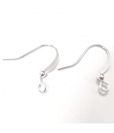 Crochets boucle d'oreille 15 mm avec boule (20 pièces) - Argenté