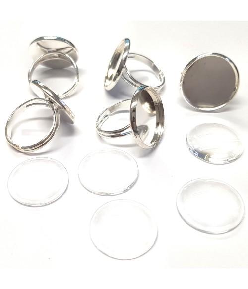 Kit support bague rond avec cabochon (5 pièces)