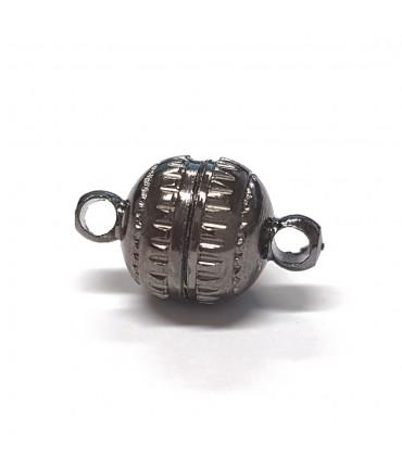 Fermoir aimanté rond Aztèque en laiton 14 x 8 mm (5 pièces) - Anthracite