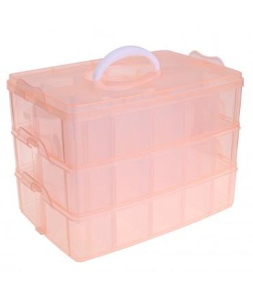 Boite de rangement plastique bijoux apprêts 30 compartiments - Orange