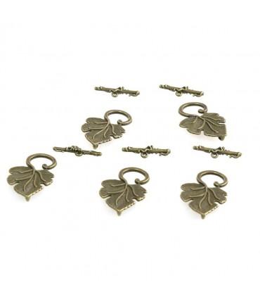 Fermoir t toggle Feuille de Vigne 36 x 22 mm (5 pièces) - Bronze