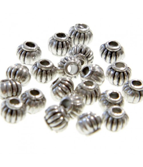 Perles metal ronde striée 4 mm