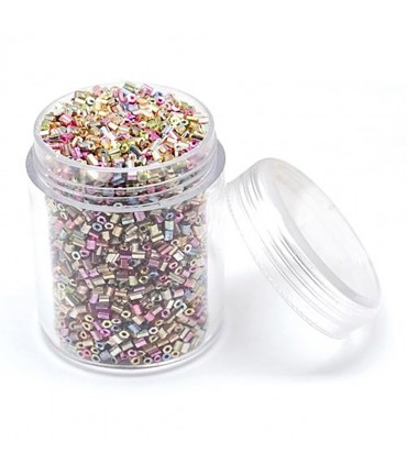 Perles de rocaille irisées tubes à facettes 1.8 à 2.3 mm (3000 pièces) - Multicolore