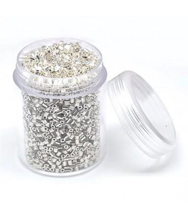 Perles de rocaille irisées tubes à facettes 1.8 à 2.3 mm (3000 pièces) - Argenté