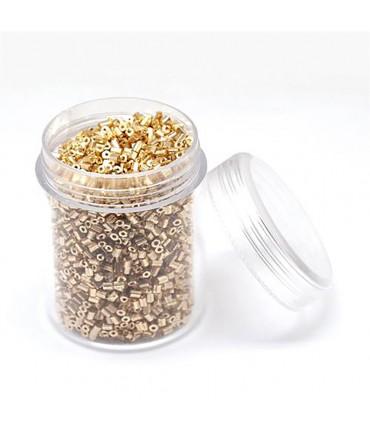 Perles de rocaille irisées tubes à facettes 1.8 à 2.3 mm (3000 pièces) - Doré