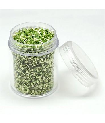 Perles de rocaille irisées tubes à facettes 1.8 à 2.3 mm (3000 pièces) - Vert d'eau