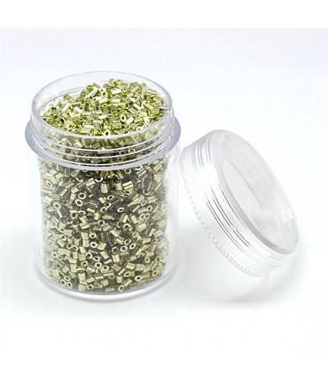Perles de rocaille irisées tubes à facettes 1.8 à 2.3 mm (3000 pièces) - Vert gris