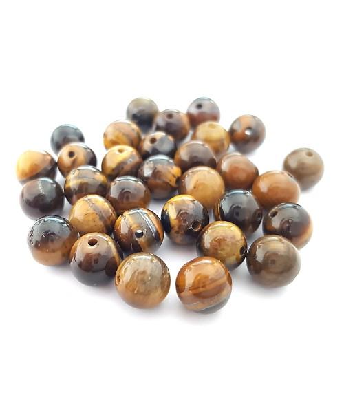 Perles rondes pierre gemme naturelle oeil de tigre