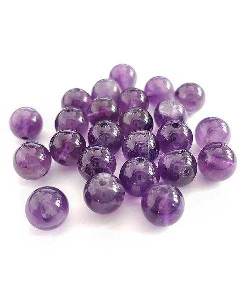 Perles rondes pierre gemme naturelle améthyste Grade A