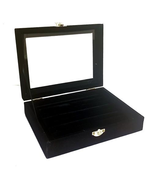 Coffret mallette pour bagues velours noir 20x15 cm