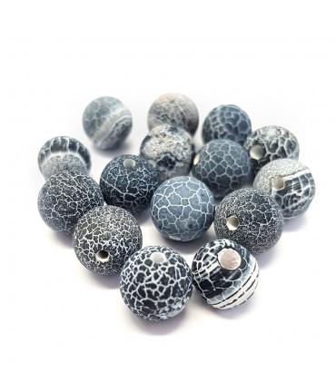 Perles rondes pierre gemme naturelle teinte agate craquelée bleu