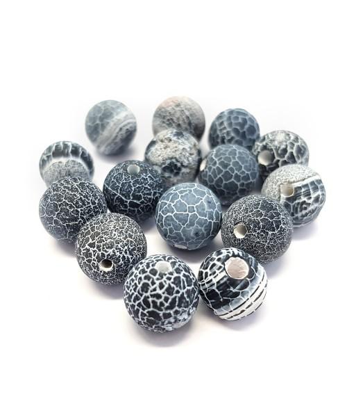 Perles rondes pierre gemme naturelle agate craquelée teinte bleu