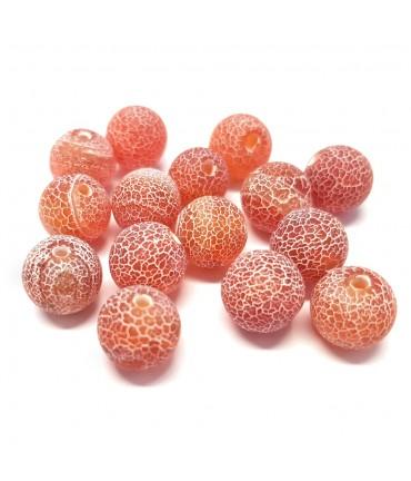 Perles rondes pierre gemme naturelle teinte agate craquelée rouge