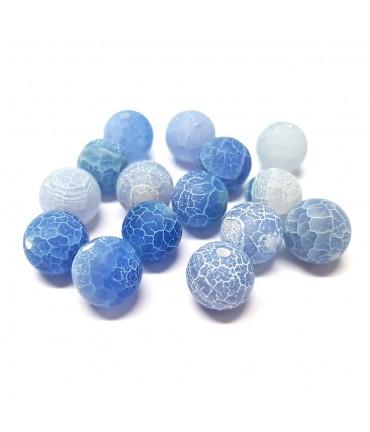 Perles rondes pierre gemme naturelle teinte agate craquelée bleu clair