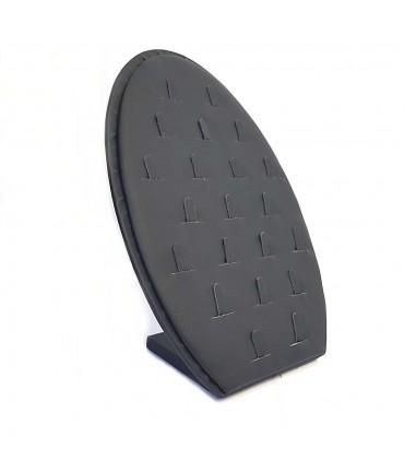 Présentoir pour bagues vertical ovale simili cuir (21 bagues) - Noir