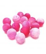 Perles rondes pierre gemme naturelle teinte agate craquelée rose