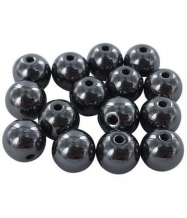 Perles rondes pierre synthétique hématite