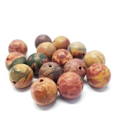 Perles rondes pierre gemme naturelle picasso dépolie