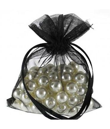 Sachets organza 8 x 8 cm pour bijoux ou dragées lot de 50 - Noir