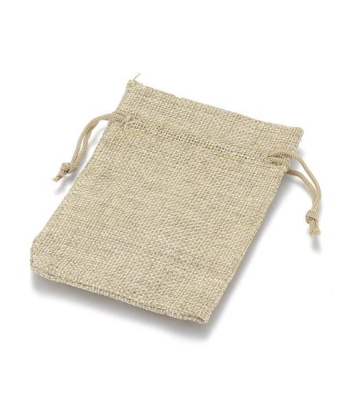 Pochettes jute 9 x 7 cm avec cordon lot de 10