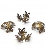 Calottes coupelles fleurs 3 pétales pour perles (50 pièces) - Bronze