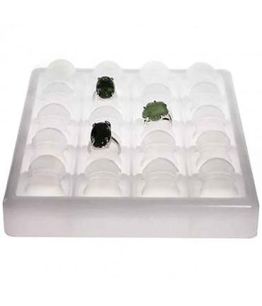 Plateau bijoux pour bagues Glaçons en plastique (20 bagues) - Translucide