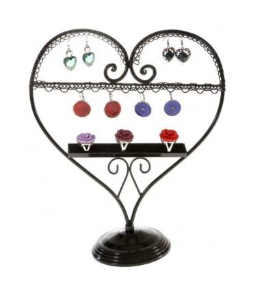 Presentoir pour bijoux Cœur mixte boucle d'oreille et bagues - Noir